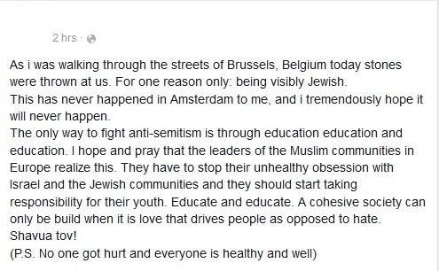 Rabbijn bekogeld met stenen in Brussel