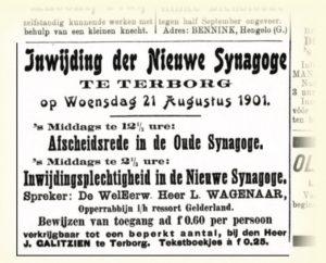 Advertentie opening sjoel Terborg in 1901