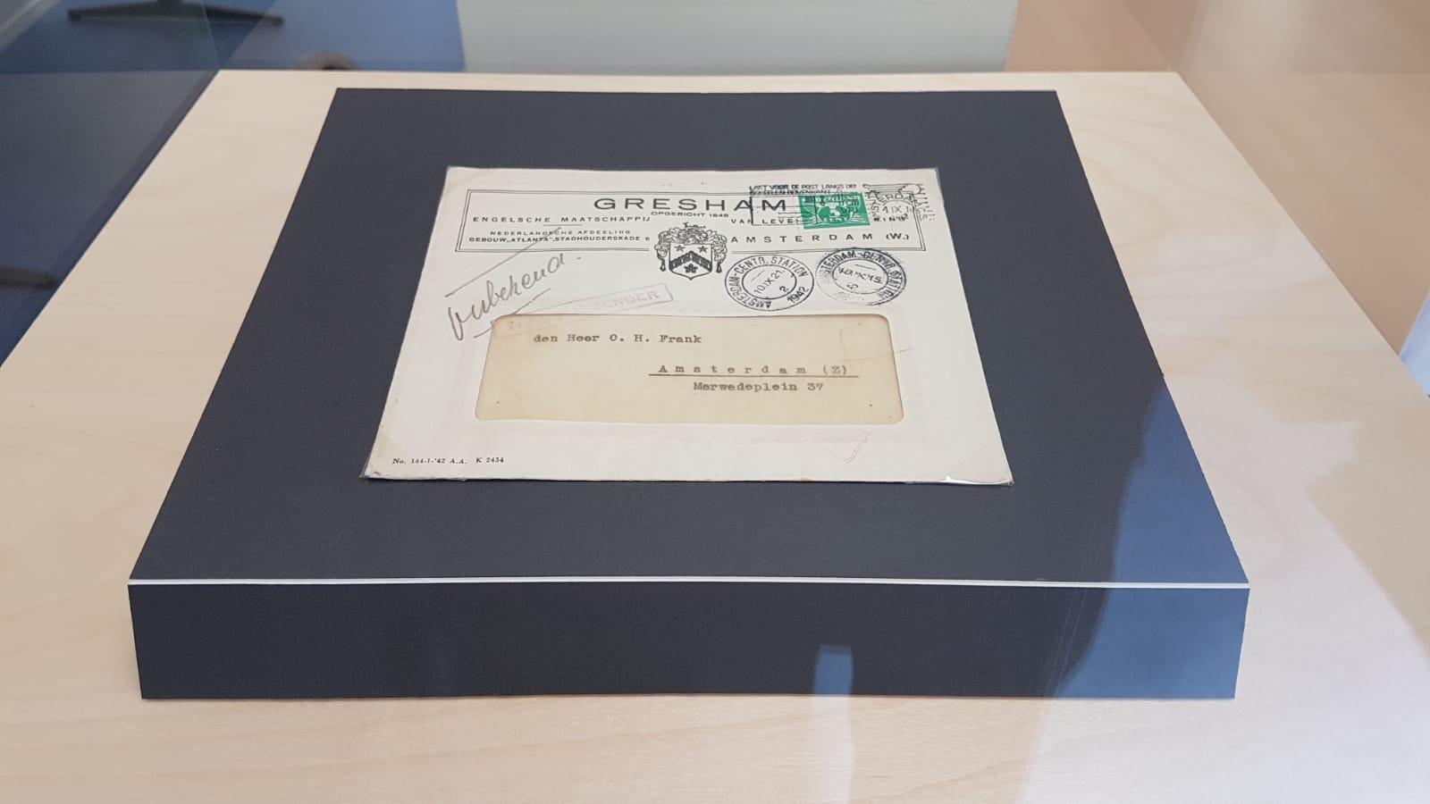 Ongeopende brief geadresseerd aan Otto Frank, de vader van Anne